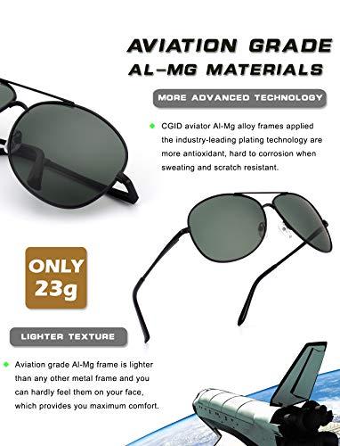 Negro sol polarizadas gafas duplicadas UV400 resorte GA61 de gafas B sol Prima de Verde bisagras aleación CGID Al de Pilot completas Mujeres Mg de Hombres para 4xHqwfpnf