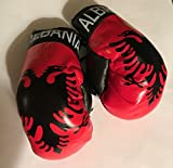 Flag Mini Small Boxing Gloves to Hang Over Car Automobile Mirror – Europe (Country: Albania)