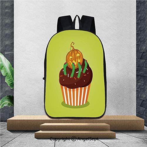 Printed Customized Casual Book Bag,Cute happy halloween cupcake with pumpkin jack and scary green f,16.5