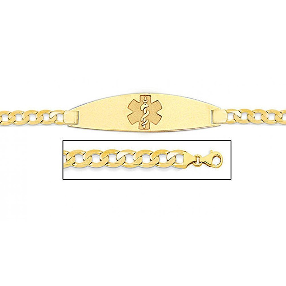 PicturesOnGold.com 14K Gold Medical ID Bracelet W/Curb Chain - 8-1/2 WITH ENGRAVING