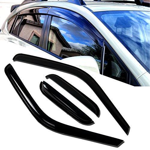TuningPros WD-697 Tinted Smoke Out-Channel Window Visor Deflector Rain Guard 4-pc Set by TuningPros