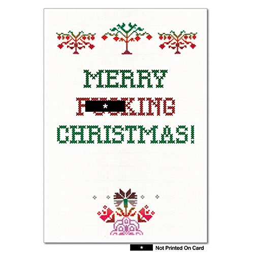 12 'Merry F-ing Christmas' Boxed Christmas Cards with Envelopes 4.63 x 6.75 inch, Humorous Christmas Cross Stitch Holiday Notes, Funny Vintage-Looking Sassy Cross Stitch Christmas Cards B1048 ()