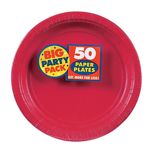Amscan Red, Big Party Pack, Round Paper Plates 7
