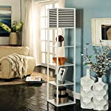 Living Room Floor Lamp Remote Control Dimming Bedroom Bedside Lamp Black And White Storage Shelf Sofa Lamp Wedding Gift Table Lamp ( Color : White )