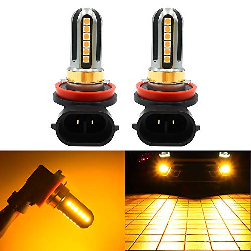 LED Fog Lights Bulbs Or DRL H8 H9 H11, Super Bright Amber Yellow 3000K, 4000Lm,High Power for Fog Driving Light,24Pcs 3030SMD for Fog Light Lamps Replacement 2Yrs Warranty