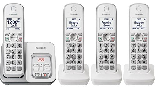 Panasonic KX-TGD533W plus one KX-TGDA51W/KX-TGDA50W1 handsets Cordless Phone with Answering Machine - 4 Handsets (Renewed) (KX-TGD532W + 2)