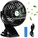 Battery Operated Clip On Fan, KKtick Small Fan with Clip Rechargeable by Battery or USB for Office, Camping, Car, Gym, Baby Stroller - Black