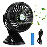 KKTICK Baby Stroller Fan, Clip on Fan Desk Fan 2 in 1, Battery Operated USB Rechargeable Small Quite Fan,4 Speed Swivel 360°,Personal Fan for Office Dorm Camping Outdoor