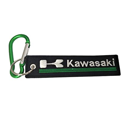 Pasdec 1x Stitching Fabric Tag Keychain with Aluminum D Shape Carabiner Green Color Clip Hook Motorcycles Bike Biker Key Chain Compatible Fit Use for ...
