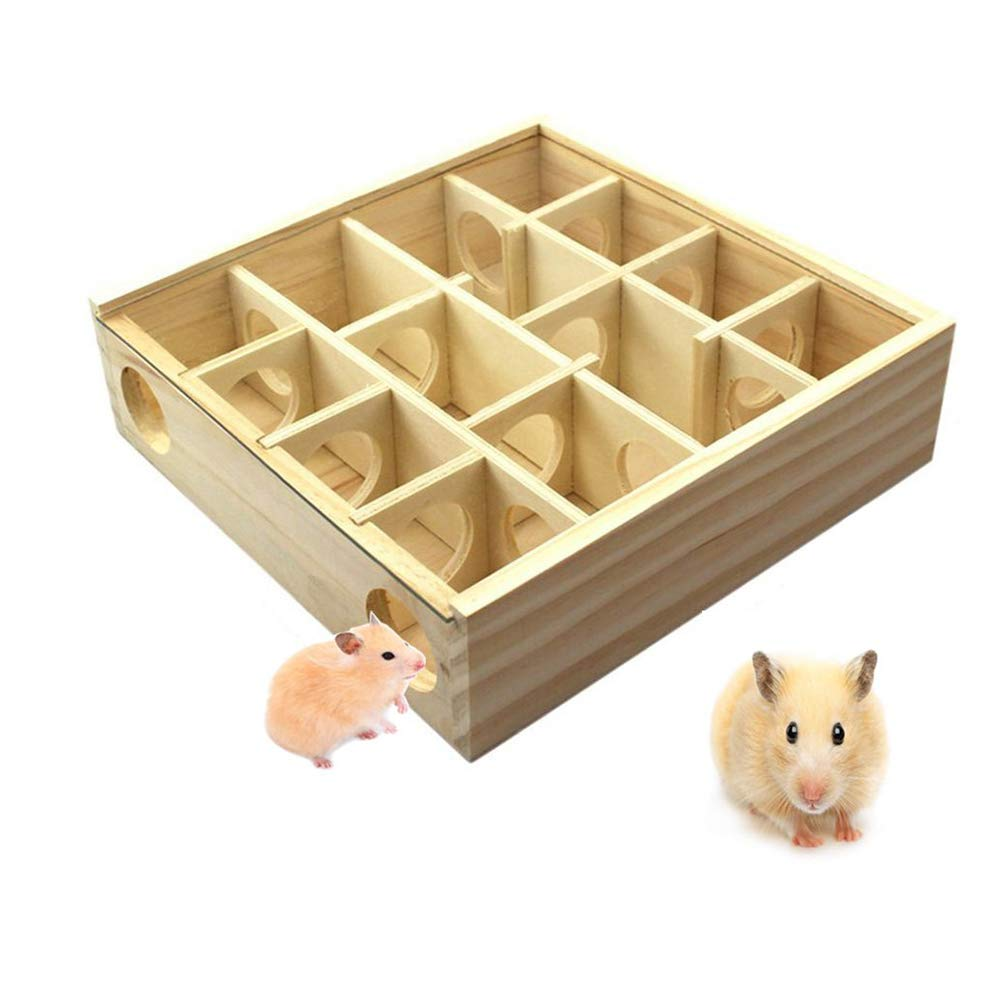 Hamster Maze Wooden Tunnel Funny Toy Chewable Toys with Glass Cover Activity Sport Play for Dwarf Mouse Cage Tubes Gerbil Small Furry Animals