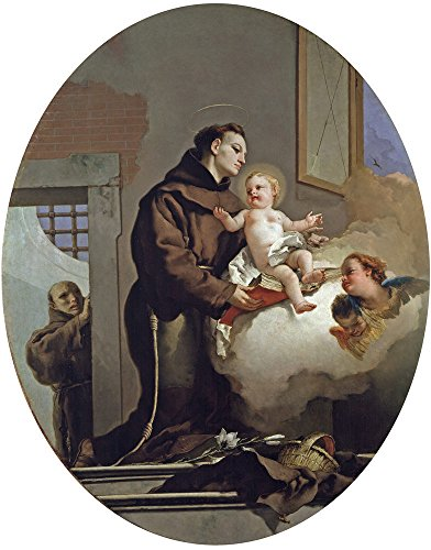 Oil Painting 'Tiepolo Giambattista Saint Anthony Of Padua And The Christ Child 1667 69', 12 x 15 inch / 30 x 39 cm , on High Definition HD canvas prints, Bath Room, Hallway And Kids Room Decoration - Diy Anime School Girl Costume