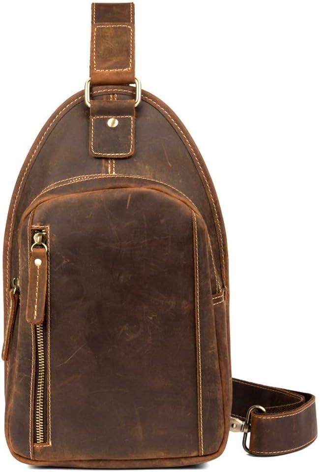 ショルダーバッグ - ヴィンテージレザー手作りの胸ポケット、手拭き取り/カジュアルメッセンジャーバッグ/ファッション/大容量/ダークブラウン26 * 18 * 6CM あなたが持っているに値する