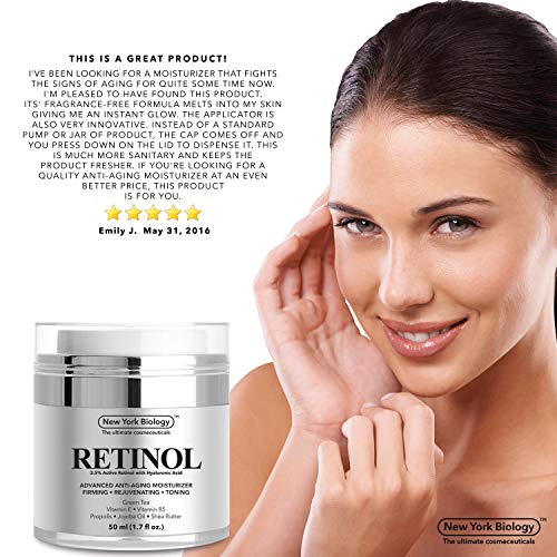 517AyqykXoL - New York Biology Retinol Cream Moisturizer for Face and Eye Area - Anti Aging Infused with Vitamin A and E for Fine Lines and Wrinkles - 1.7 oz
