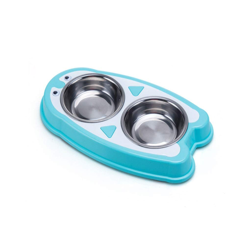 bluee Stainless Steel Dog Bowl Cat Bowl, Dog Pot Cat Bowl Feeding Double Bowl Dog Food Bowl Pet Rice Bowl (color   bluee)