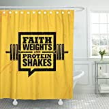 TOMPOP Shower Curtain Faith Weights and Protein Shakes Inspiring Workout Fitness Gym Motivation Quote Sign Creative Strong Waterproof Polyester Fabric 60 x 72 inches Set with Hooks