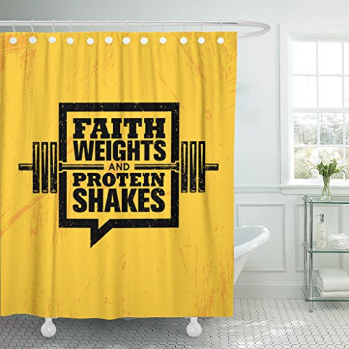 TOMPOP Shower Curtain Faith Weights and Protein Shakes Inspiring Workout Fitness Gym Motivation Quote Sign Creative Strong Waterproof Polyester Fabric 60 x 72 inches Set with Hooks by TOMPOP