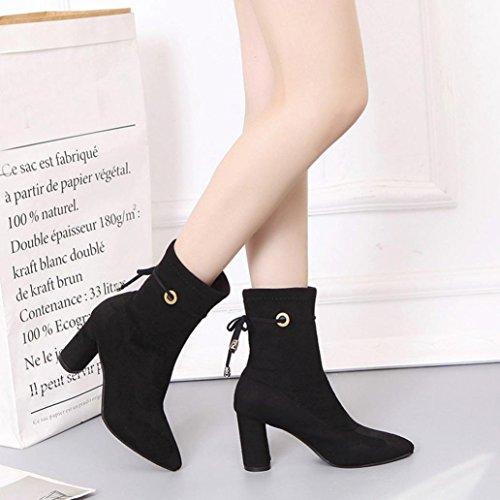 Chaussures Talons Ceinture Bottines Faux Dames Chaudes Bottes Boucle Martin Femmes Noir Hauts Igemy Cwnv8qax