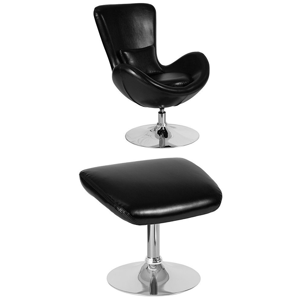 Flash Furniture Egg Series Black Leather Side Reception Chair with Ottoman