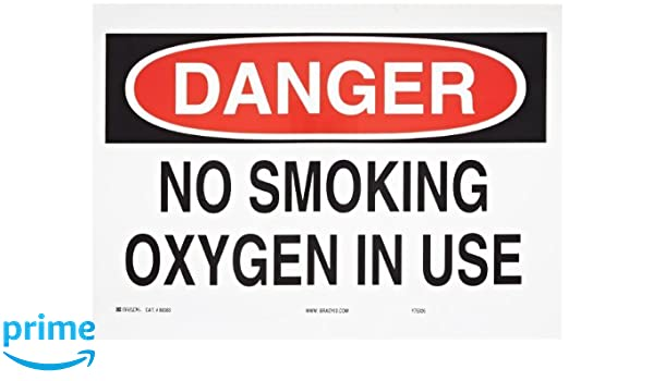 Brady 88383 Self Sticking Polyester No Smoking Sign, 10