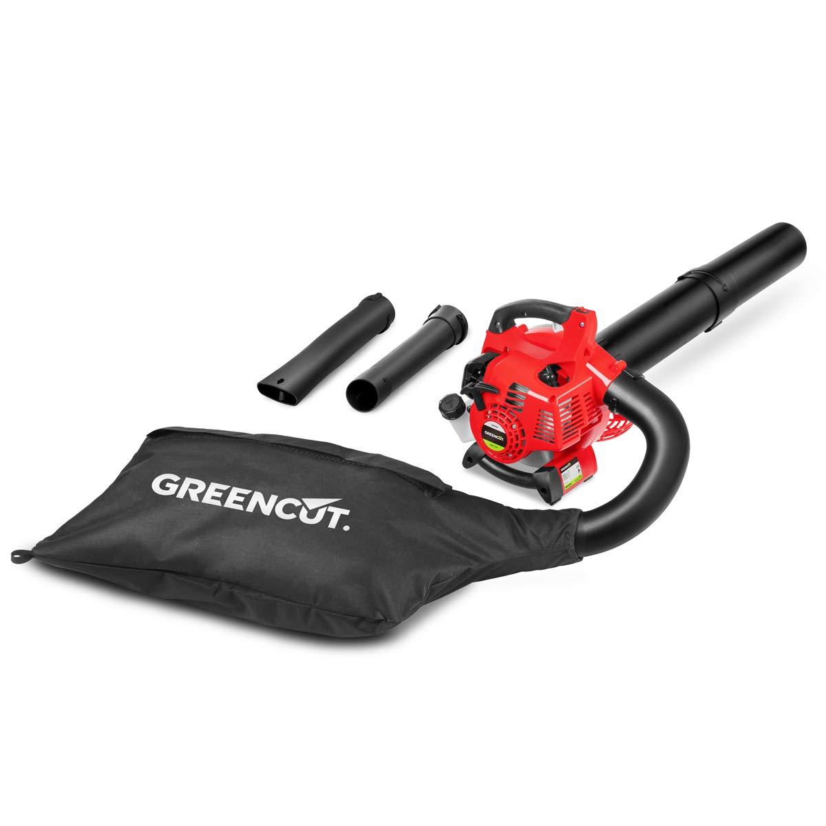 Greencut EBV260BN - Soplador aspirador de hojas con motor de gasolina de 26cc y velocidad max 350km/h con bolsa de recogida de 50L