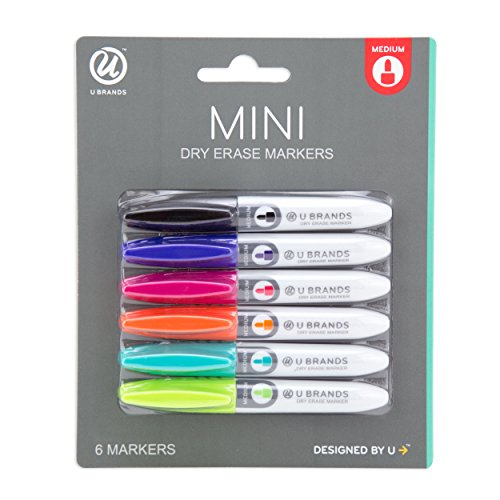 U Brands Low Odor Mini Dry Erase Markers, Medium Point, Assorted Colors, 6-Count