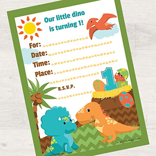 Birthday Direct Lil Dinosaur 1st Birthday Fill in Invitations 16 Count with Envelopes - 16 Pack Jurassic, T-Rex, Dino Party Invites for 1st Birthday, Boys Birthday