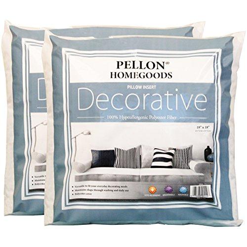 Pellon 2DPI1818 Decorative Twin Pack Pillow Insert, 18