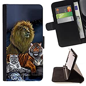 Lion Tiger Painting Art Drawing Blue - Painting Art Smile Face Style Design PU Leather Flip Stand Case Cover FOR HTC One M9 @ The Smurfs