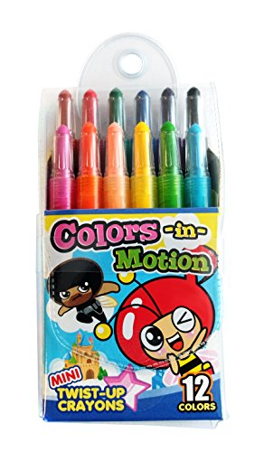 12 Colors-in-Motion MINI Twist-up Crayons, Colored Pencils, Kids Crayon, Adult Coloring, Professional Drawing (4.5 in length) ()