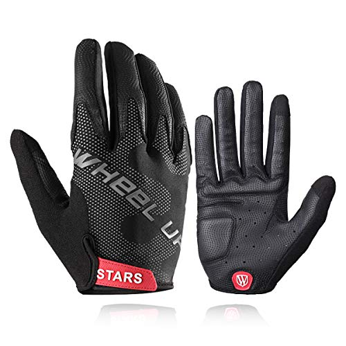 WHEEL UP Stylish Bike Gloves Touch Screen Leather Outdoor Sports Gloves Full Finger Shock Absorbing Anti-Slip Cycling Gloves for Men and Women (Black, Large)