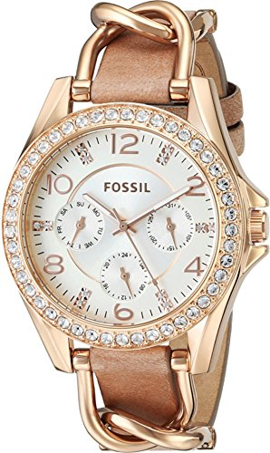Fossil Womens Leather Dress Watch (Fossil Women's ES3466 Riley Rose Gold-Tone Stainless Steel and Leather Watch with Crystal)