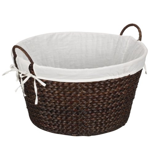 Household Essentials ML-6667B Round Wicker Laundry Basket Hamper with Liner - Dark Brown