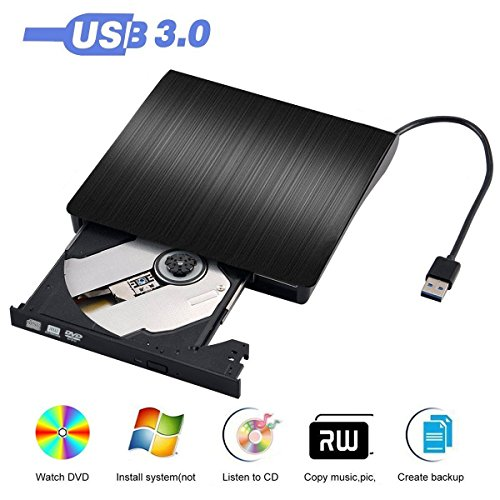 Notebook Windows Pcs (External DVD Drive, USB 3.0 External CD Drive, CD/DVD-RW Drive, CD-RW Re-writer Burner Super-drive For High Speed Data Transfer for Notebook PC Computer Support Windows 7, 8, 10, Mac OSX (Black))