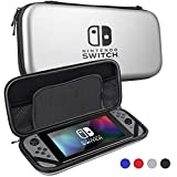 Nintendo Switch Case,Sahiyeah Hard Protective Durable Carrying Bag With 5 Game Holder for Nintendo Switch,Silver