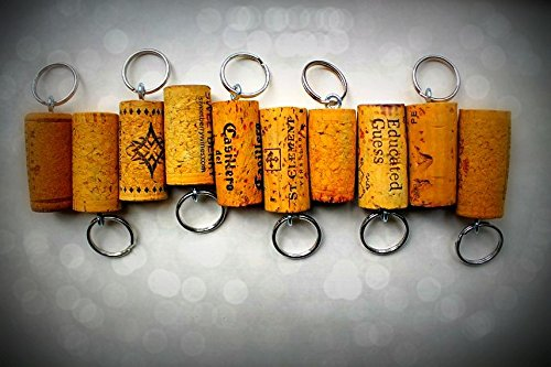 25 Wine Cork Key Chains - Used Wine Corks From Red and White Wine -