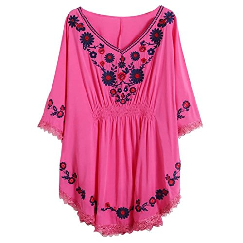 Kafeimali Women's Batwing Dressy Tunic Peasant Tops Mexican Embroidery Blouse (Rose red)