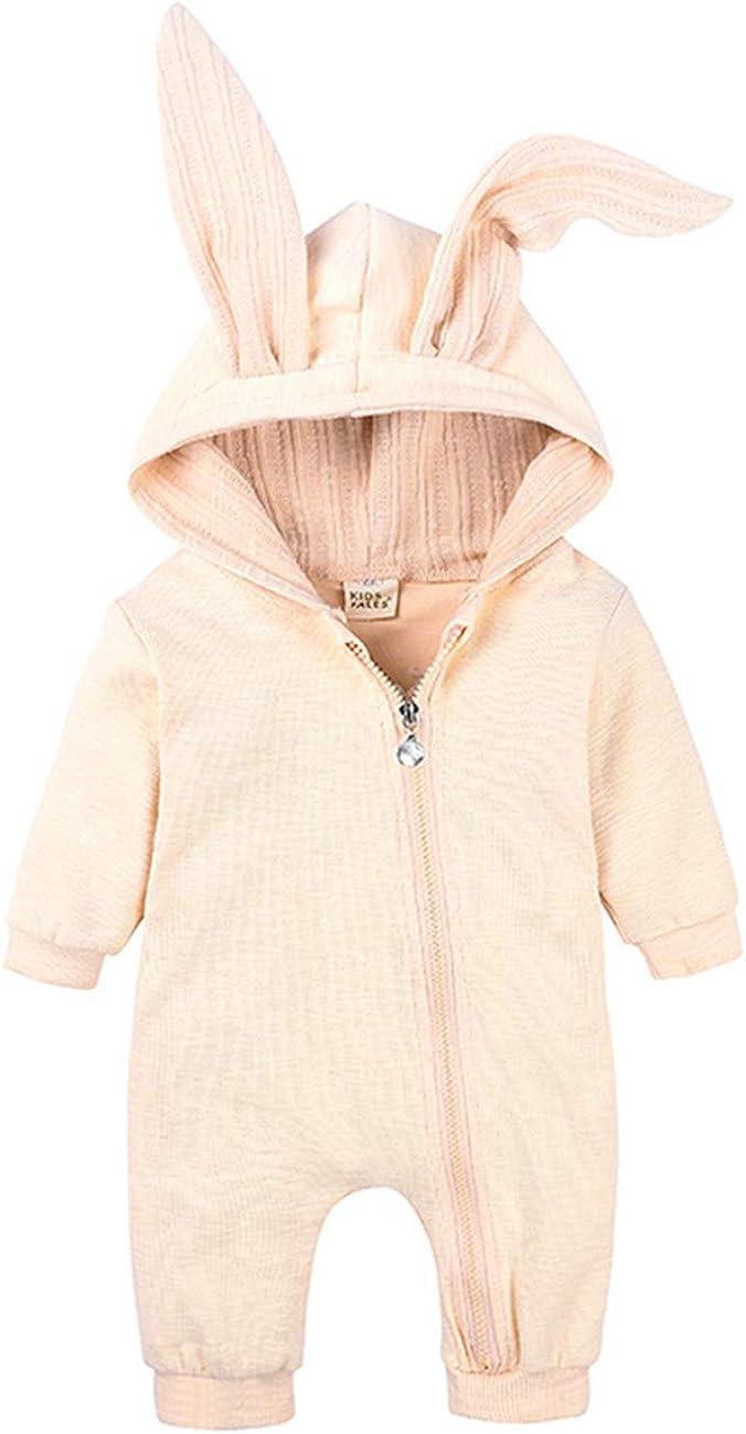 SERAPHY B/éb/é Oreilles De Lapin Barboteuse Nouveau-N/é B/éb/é /À Capuche V/êtements Respirant BabySuits en Coton Zipp/é Jumpsuit Outwear Pull Cadeaux pour Les Enfants