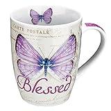 "Botanic Butterfly Blessings Purple ""Blessed"" Mug – Jeremiah 17:7"