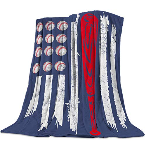 Luxury Lightweight Flannel Bed Blankets Super Soft Warm Cozy Plush Microfiber All-Season Sofa Couch Throw Blanket - Throw 40x50 Inch Independence Day Abstract Baseball American Flag Blue White and Red