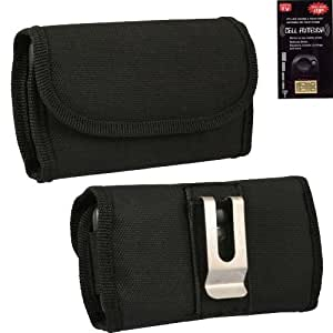 Pantech Swift Horizontal heavy duty rugged canvas cell phone case with Velcro closure, metal clip and belt loop under the clip. Great for Hiking, Camping, Construction, Landscapers outdoor activity. Comes with Antenna Booster.