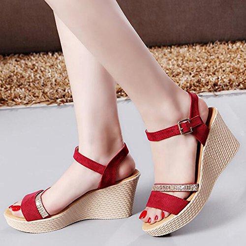 Hope Sandales Compensées pour Femmes Fashion Peep Toe Sling Retour Dress Party Soirée Chaussures De Mariage Red 7MuSoOm