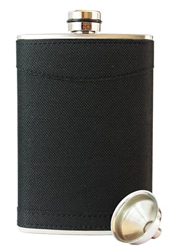8oz Stainless Steel Primo 18/8 #304 Black Grip Wrap Premium/Heavy Duty Hip Flask Gift Set ~ Includes Funnel and Gift Box