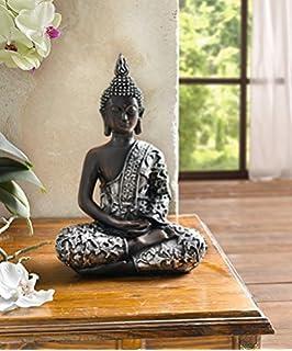 deko-figur ?buddha schimmer ? silber gold glitzer strass modern ...