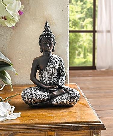deko figur indischer buddha silber modern ausgefallen gro glcksbuddha - Buddha Deko Wohnzimmer