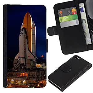 Billetera de Cuero Caso Titular de la tarjeta Carcasa Funda para Apple Iphone 6 4.7 / Space Rocket Launch Ship Nasa Flight Tecnology / STRONG
