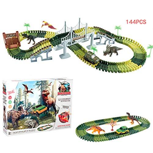 lingxuinfo 144pcs恐竜おもちゃSlot Car RaceトラックセットDinosaur World Raceトラックプレイセット3恐竜