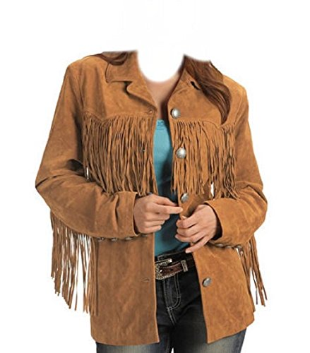 Coolhides Womens Western Fringes Leather Jacket (Large) (Jackets Western Suede Fringe)