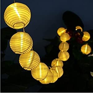 Solar LED Lanterns String Lights, ALED LIGHT 16.4Ft 5M 20 LED Waterproof Outdoor Decorative Stringed LED String Lights Lanterns for Party,Christmas,Garden,Patio,Halloween, Decoration (20LED-16.4ft)