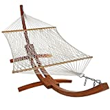 Sunnydaze Cotton Double Wide 2-Person Rope Hammock with Spreader Bars and 13 Foot Curved Arc Wood Stand, 400 Pound Capacity