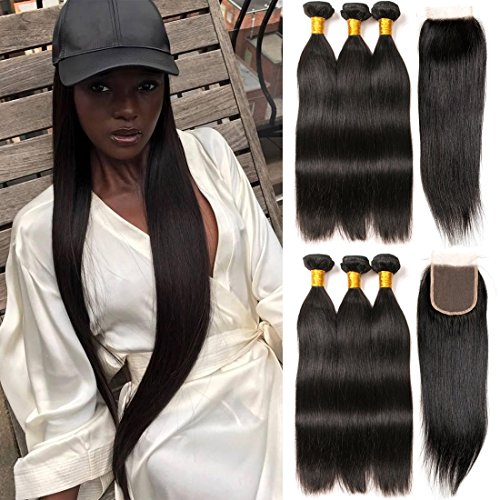 Four Day Sale Lace - Cheap 3 Bundles with Closure Full Lace Front 4x4 and 10a Straight Brazilian Hair Weave Double Weft on Sale Deal Cheap Prime 16 18 20 +14 Closure